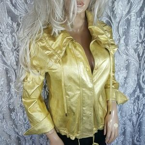 ST JOHN STUNNING GOLD LEATHER BOMBER JACKET COAT